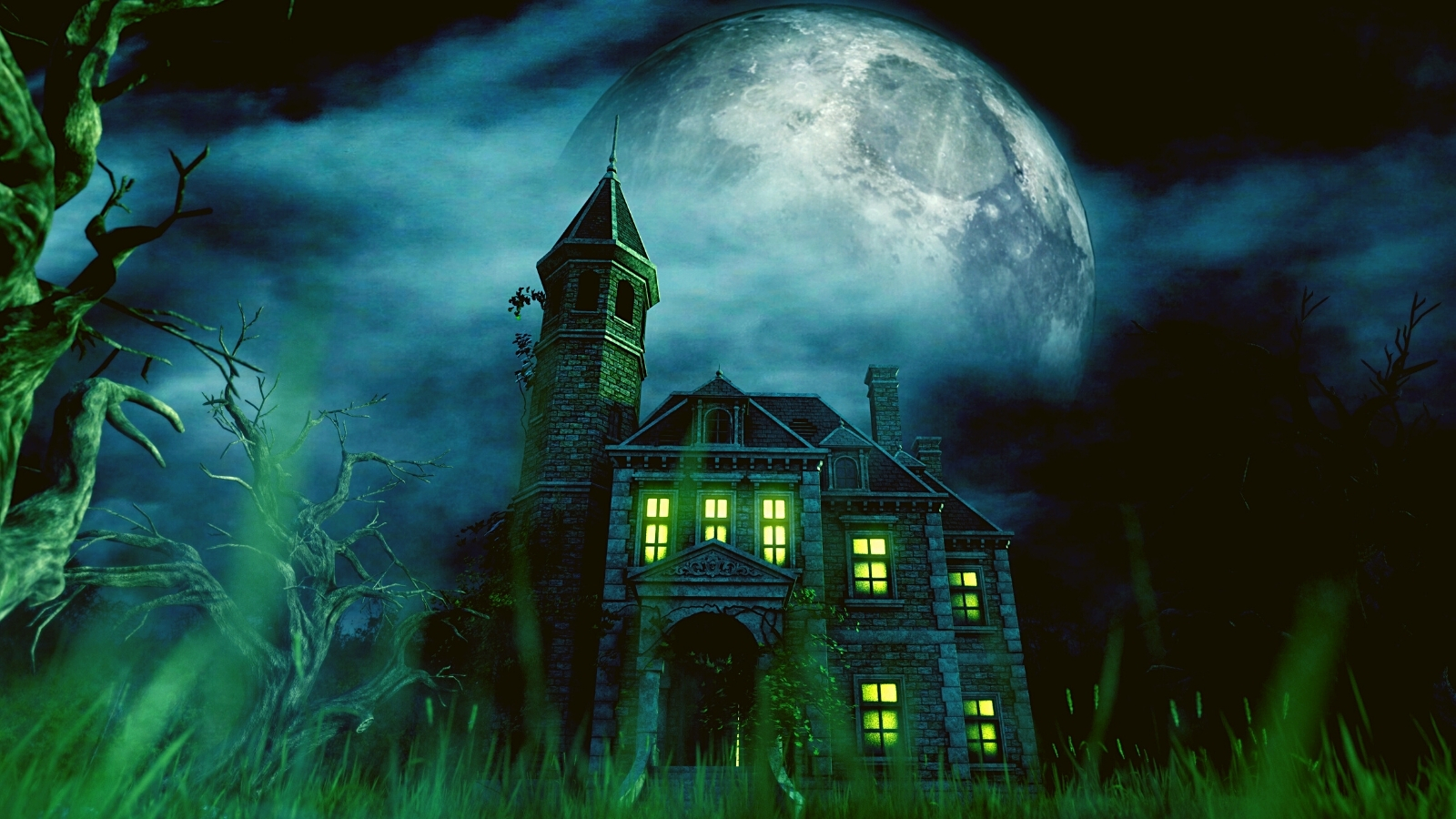 Haunted house against a large full moon